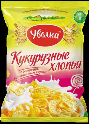 Завтрак Хлопья кукурузные с молочно-карамельным вкусом, глазированные сахарным сиропом 150г Увелка