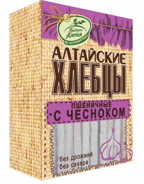 Хлебцы Алтайские Пшеничные с чесноком 75г Бийск