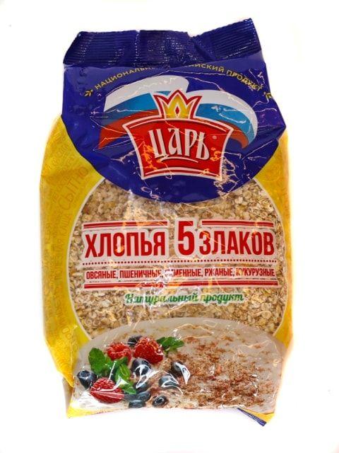 Хлопья Царь 5 злаков (пакет) 400г Союзпищпром