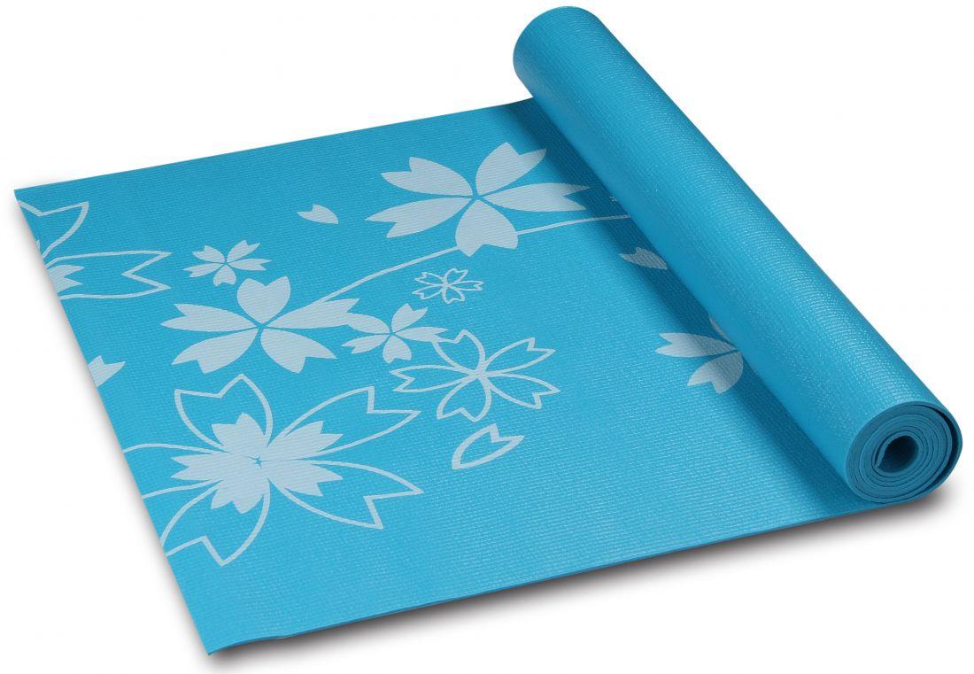 """Коврик для йоги/фитнеса с рисунком """"Цветы"""" INDIGO YG03Р 173*61*0,3 см"""