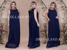 Темно-синее вечернее платье свободного кроя
