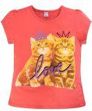 Коралловая футболка для девочек с принтом от Bonito kids