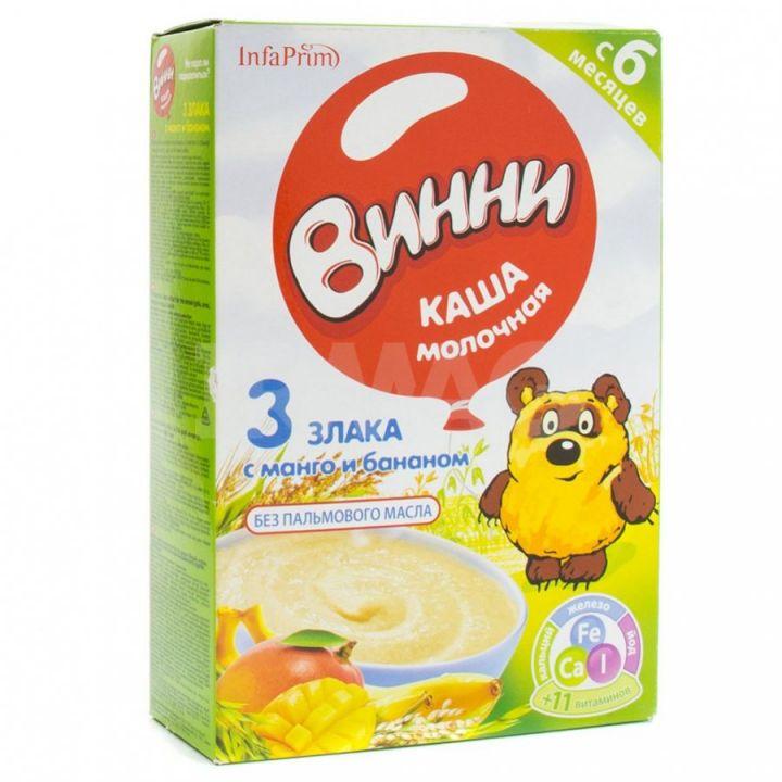 Каша Винни 200г сух.молоч. б/р 3 злака с манго и бананом