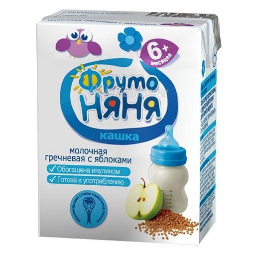 Каша Фрутоняня жидкая молочная гречка/яблоко с пребиотиками и фруктозой 200мл.