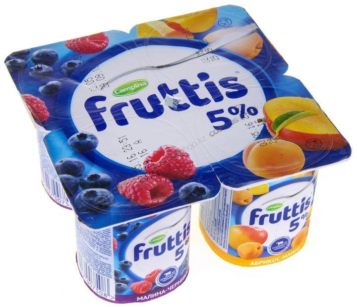 Йогурт Фруттис 5% малина-черника/абрикос-манго 115г ООО Кампина