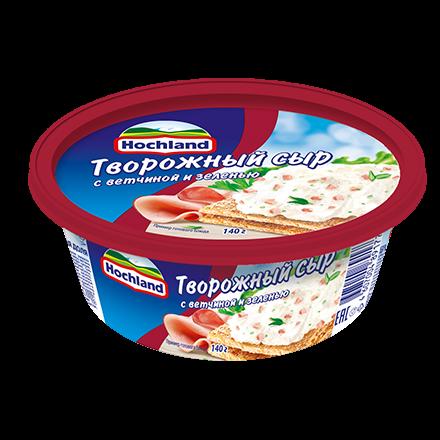 Сыр Хохланд 60% 140г творожный ветчина/зелень ванночка