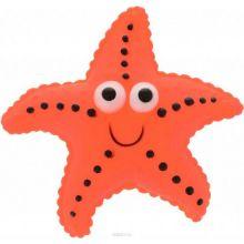 Виниловая игрушка-пищалка для собак Морская Звезда, 12 см, Цвет: Оранжевый