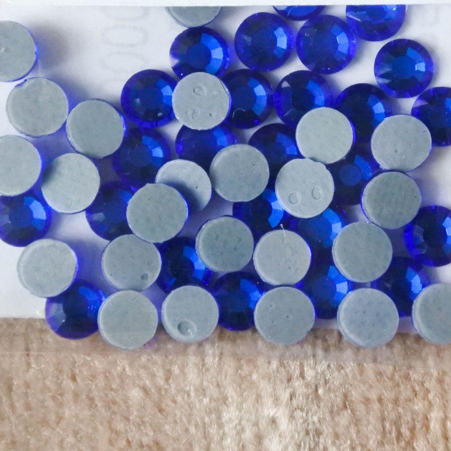 Стразы стеклянные клеевые, цвет Синий, SS16, 50 шт/упак