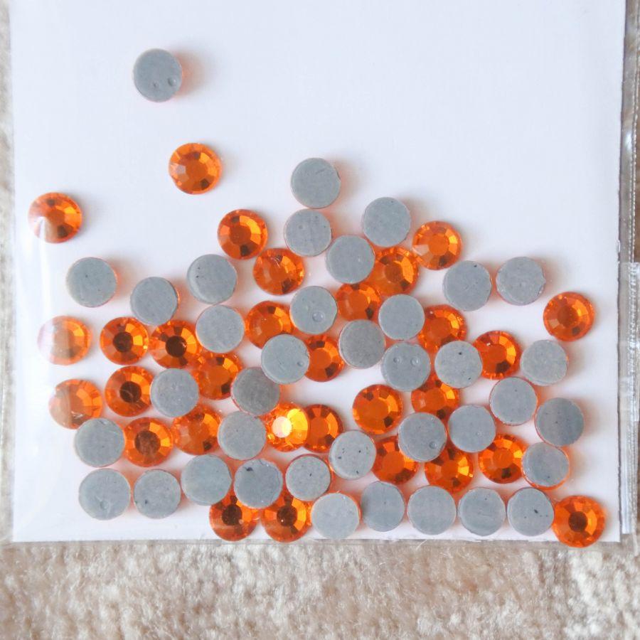 Стразы стеклянные клеевые, цвет Оранжевый, SS10, 70 шт/упак