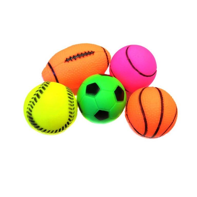 Виниловые игрушки-пищалки для собак Набор мячиков, 5 шт