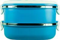 Ланч-бокс двухсекционный 1,6 литра синий