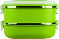 Ланч-бокс двухсекционный 1,6 литра зелёный