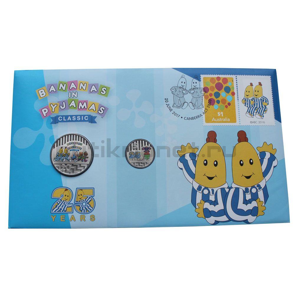 Набор монет 2017 Австралия Бананы в пижамах (2 штуки) в буклете
