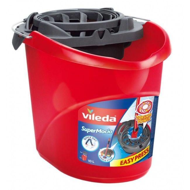 Ведро с системой отжима для  швабры Vileda SuperMоcio 3 Action, красное