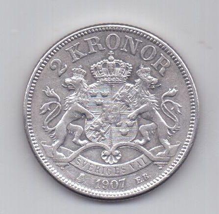 2 кроны 1907 года AUNC Швеция