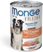 Monge Dog Fresh Chunks in Loaf консервы для пожилых собак мясной рулет индейка с овощами 400г