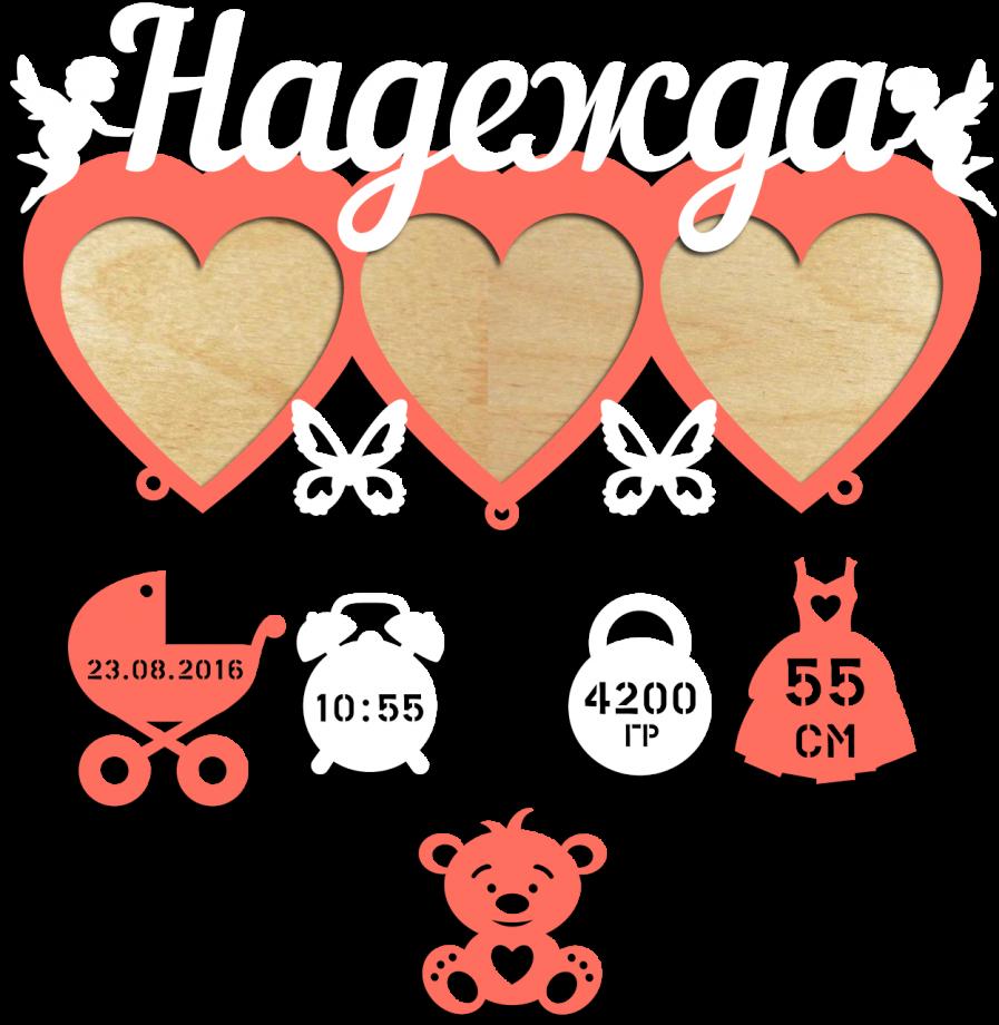 Детская метрика с тремя фоторамками в виде сердечек