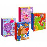 """Пакет подарочный бумажный, матовый """"Забавные животные"""", 32х26х12 см, 4 вида в ассортименте (арт. TZ 14031)"""