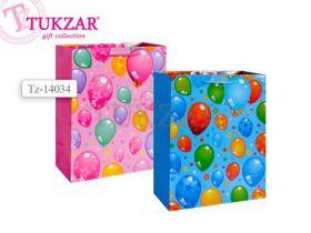 """Пакет подарочный бумажный, глянцевый """"Воздушные шарики"""", 32х26х12 см, 2 вида в ассортименте (арт. TZ 14034)"""