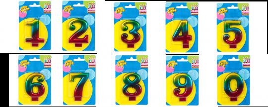 Свечи-цифры радужные 0-9