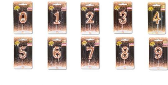 Свечи-цифры розовое золото 0-9