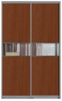 Двери купе с одной вставкой - ЛДСП+Зеркало+ЛДСП комбинированные