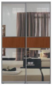 Двери купе с одной вставкой - Зеркало+ЛДСП+Зеркало, комбинированные