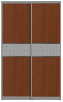 Двери купе с одной вставкой - ЛДСП+КОЖА+ЛДСП комбинированные