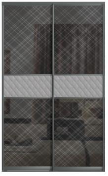 Двери купе с одной вставкой - СТЕКЛО КОМАНДОР+КОЖА комбинированные