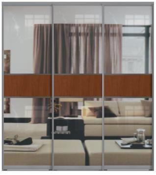 Трехдверные двери купе - Зеркало+ЛДСП+Зеркало, комбинированные