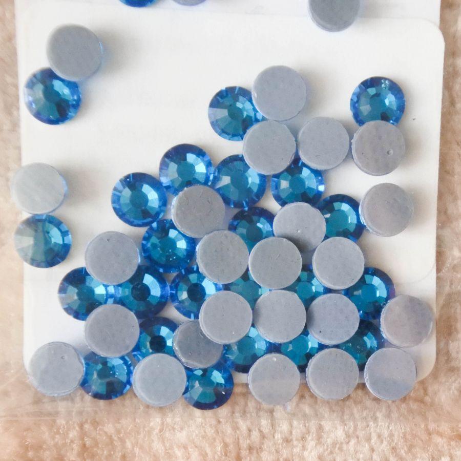 Стразы стеклянные клеевые, цвет Лазурный, SS16, 50 шт/упак