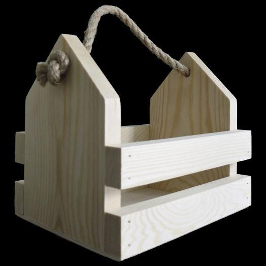 Ящик-домик из массива, с веревочной ручкой