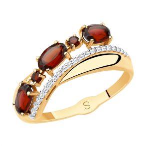 Кольцо из золота с гранатами и фианитами SOKOLOV 715482 золото 585