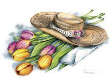 Почтовая открытка Шляпа с тюльпанами