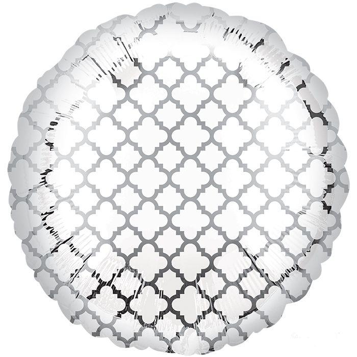 Круг с серебряным узором Элит шар фольгированный с гелием