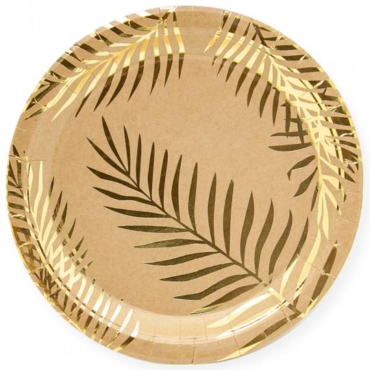 Тарелки Крафт с золотым тиснением малые