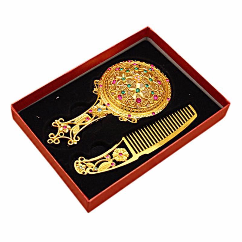Винтажный набор из зеркальца и расчёски в подарочной упаковке