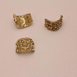 `Кабошон со стразами, прямоугольный, дуга, цвет основы: золото, цвет стразы: прозрачный, размер: 18х14мм, Р-КБС0347
