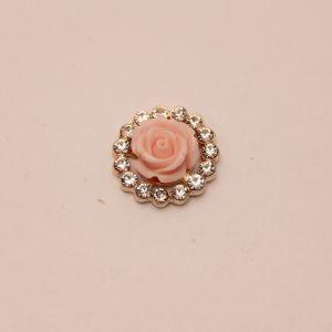 `Кабошон со стразами, круглый, цвет основы: золото, розовая розочка, размер: 20мм, Р-КБС0349