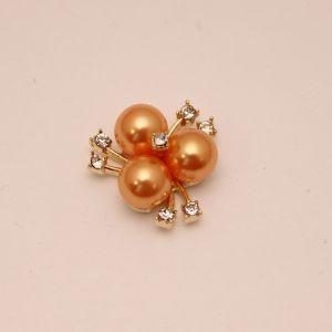 Кабошон со стразами, цвет основы: золото, цвет стразы: оранжевый, размер: 23мм (1уп = 10шт), КБС0330-18