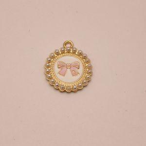 Подвеска, цвет основы: золото, розовый бант, размер: 25мм (1уп = 10шт), КБС0331-3