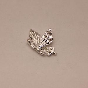 """Кабошон металл """"Бабочка"""", цвет: серебро, размер: 26*19мм (1уп = 10шт), КБС0360-2"""
