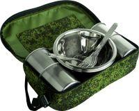 Набор посуды на 4 персоны в сумке зелёный