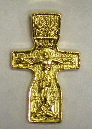 Крест нательный большой жёлтый