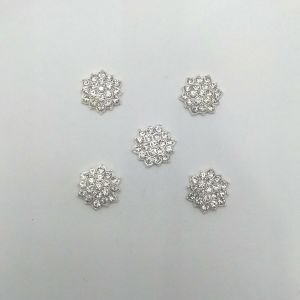 Кабошон со стразами, цвет основы: серебро, размер: 16мм, КБС0361-2 (1уп = 10шт)