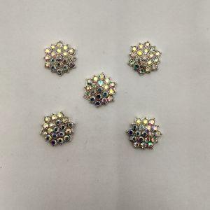 Кабошон со стразами, цвет основы: серебро, размер: 16мм, КБС0361-5 (1уп = 10шт)