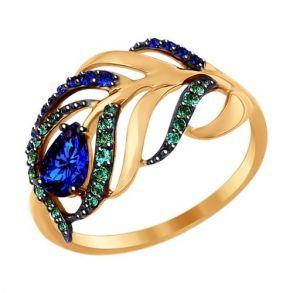 Кольцо из золота с зелеными и синими фианитами SOKOLOV 017080 золото 585