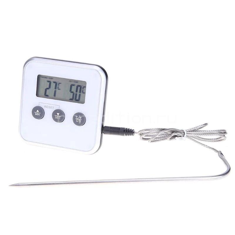 Электронный термометр с щупом, таймером и сигнализацией