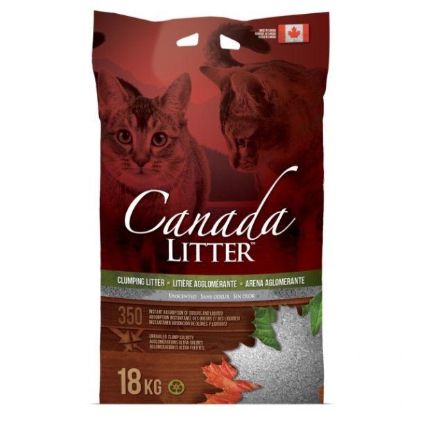 "Наполнитель Canada Litter Канадский комкующийся ""Запах на Замке"", без запаха 18кг"