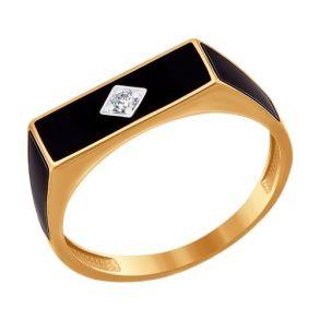Печатка из золота с эмалью с фианитом SOKOLOV 016718 золото 585